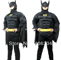 Wholesale Adult batman muscle costume halloween party dress up superhero costume clothing with cape head mask