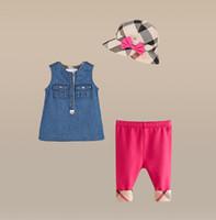 Brand Girls Summer sets 3pcs set dresses+ legging pants+ hat b...