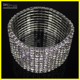 Wholesale 2014 New Cheap10 Row Rhinestone Stretch Bangle Bracelet Wedding Party Bridal Jewelry
