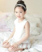 Girl Summer Standard 2014 Summer Children Girls Fashional Ruffle Lace Edge Around Collar Sleeveless T-shirts Korean Kid's Cute Solid Flouncing Tee Shirt I0451