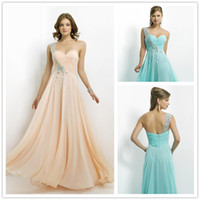 Reference Images One-Shoulder Chiffon 2014 Stylish A Line Aqua One Shoulder Crystal Prom Dresses Apricot Sequins Beads Ruched Bodice Chiffon Zipper Long Evening Party Dresses