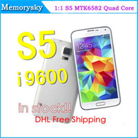 Wholesale Perfect Real inch IPS Screen S5 MTK6582 Quad Core Smartphone Android G G GPS MP Camera I9600 unlocked phones Air gesture