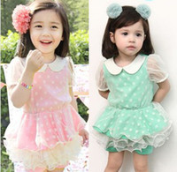 Girl Summer Short Hot Fashion Children Suits Summer Hot Sale Pure Cotton Girl Suits Sweet Doll Collar T-Shirt And Yarn Pantskirt High Quality Suits