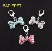 Wholesale 3Colors Luxury Diamond Bone Shaped Dog Pet Pendant Charm Pet Jewelry Pet Product Pet tag Dog Supply