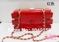 Wholesale 2014 female blocks women s clutch handbag fashion acrylic magic cube box chain small bag evening