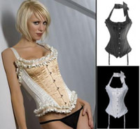 Women Corset & Bustier Christmas 3 Colors, Ivory Black White Sexy Gothic Full Spiral Steel Boned Corset Bustier+ String , Body Shaper