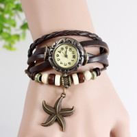 Women's beaded watch bracelets - FASHION starfish Charm Beaded Weave Quartz Retro Vine Watch Bracelet Women Ladies Leather watch wristwatch DHL free ship