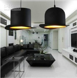 discount lamp black hat wholesale 2 light new modern fabric bowler tall hat ceiling light black hat unique lighting