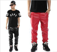 Wholesale Autumn amp Winter Slim Fit PU Leather Jogging sweatpants Men Fashion Faux Leather Jogger Red Black Pants Leather Trousers