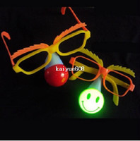 Wholesale children flashing LED clown nose and glasses party glasses and light nose mix of different styles