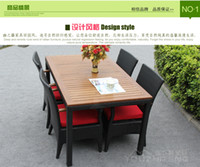 Wholesale Outdoor furniture leisure suits balcony chairs wood export rattan wicker chair combination Teng Garden Terrace Bar