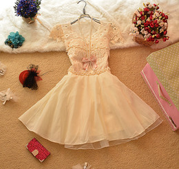 Wholesale 2014 Elegant Women Lace Chiffon Bridesmaid Mini Dress Lady Fashion Pearl Party Dresses Bow Prom Dress Bridal Gown Casual Gowns