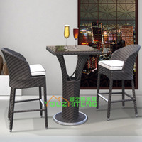 Wholesale Outdoor furniture garden PE rattan bar chairs imitation outdoor leisure suit high back chair cafe tea club