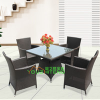 Wholesale Outdoor Furniture Set villa balcony coverings casual rattan cafe chairs sets patio wicker chair Garden Club
