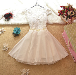 Wholesale 2014 Brand New Elegant Lace Chiffon Bridesmaid Mini Dress Flower Pearl Party Dresses Bow Prom Dress Bridal Gown Ball Gowns