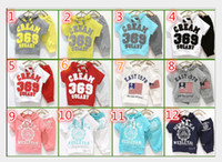 Wholesale Fashion Baby suits girls boys cream short sleeve hoodies pants clothing set childrens yellow red summer clothes wholesales suits