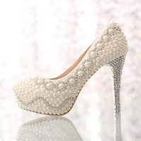Wholesale 2014 New cm high heels Beige white wedding shoes elevator pearl rhinestone thin heels bridal pumps shoes women s pump shoes