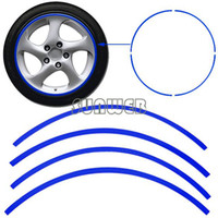 Wholesale 16 Strips Car Motorcycle Blue Reflective WHEEL Rim Stripe Decal sticker Car accessories Drop Shipping