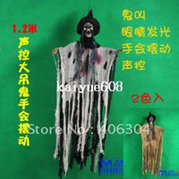 Halloween Other Holiday Supplies Zhejiang China (Mainland) Free shipping,1.2m,halloween Haunted house bar decoration props, halloween hanging ghost,sound control,hand shaking
