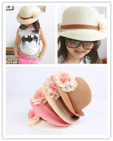Wholesale Korea Fashion Summer Girls Lovely Lace Flowers Staw Hats Sweet Kids Girl Tunrup Design Beautiful Beach Sun Caps Knit Hat H0483