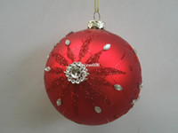 Wholesale cm red hanging glass christmas ball with painting flower christmas ornament party decoration