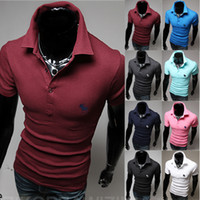 Men Short Sleeve Cotton Wholesale new 2014 fashion cotton deer embroidery short sleeve camisa mens tshirts top blusas