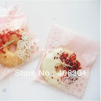 Wholesale pink lace cookie bag self adhesive seal plastic snack bag bake gift bag cm cm cm