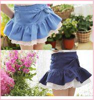 Wholesale HOT Summer Girls Bow Jeans High Waist Skirts Kids Clothing Ruffles Lace Hemline Princess Half Dress Childs Girl Denim Elastic Skirt H0484