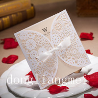 Wholesale 100pc Chic White Flower Cut out With Bow Free Personalized Customized Printing Wedding Invitations Cards Z44