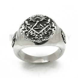 Wholesale Stainless Steel Masonic Skull Maltese Cross Ring MER05