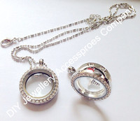 Wholesale 10pcs mm silve rhinestone floating locket crystal L stainless steel color locket pendant chains inluded for free