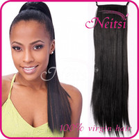Wholesale Hot Sale inch Synthetic Straight Long Ponytail Hairpiece Human Hair Extensions b M Straight Brazilian Hair Weaves Synthetic Hair