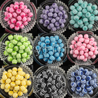 Wholesale New mm Multicolor Clear Striped Resin Rhinestone Chunky Beads for DIY Necklace Bracelet Jewelry