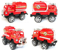 Plastic Diecast Educational Free Shipping Children's Toys Inertia Fire Engine Ladder Truck 4 Pieces Big Red Truck Suit Diecast Toy Vehicles Module Kids Cars
