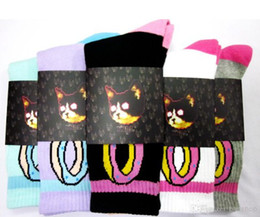 Wholesale 12pcs New Odd Future OFWGKTA Crew Men Socks KILL THEM ALL Cat Donut Golf Wang huf Double Layer Thicker Terry Socks free ship Top Quality
