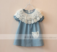 Wholesale 2014 Summer Children Grils Lace Flower Collar Pleated Short Sleeve Dresses Kids Girl Puff Sleeve Hollow Denim Dress Childs Jeans DressyH0488