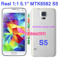 Wholesale Perfect Real Inch S5 I9600 MTK6582 Quad Core Phone Android G Air Gesture Eyeball Dual Camera Smartphone with Retail Box
