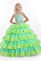 Reference Images Girl Beads 2014 New Long Heavily Beaded Halter Green Pink Ankle Length Ball Gown Crystal Lace Sparkling Tiered Lovely Little Girl Pageant Dresses