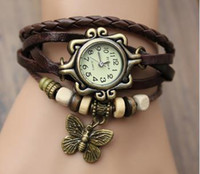 Wholesale 7 Colors Original High Quality Women Genuine Leather Vintage Watches Bracelet Wristwatches butterfly Pendant MOQ for