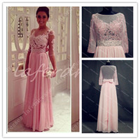 Wholesale 2014 See Thorough Back High Neck Evening Gowns with Half Long Sleeve Appliques Beads Pink Chiffon UK Prom Dresses Celebrity Dress