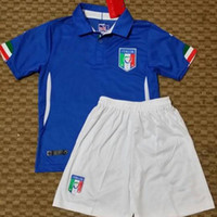 Soccer Short Cotton Italy 2014 World Cup Home Kids Soccer Kits Highest Quality Cheap Youth Football Jerseys Logo Embroidered Children's Team Soccer Jerseys