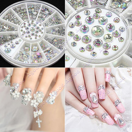 Wholesale 4 Size Nail Art Tips Crystal Glitter Rhinestone Decoration Wheel