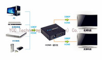 Wholesale 2 Port Hdmi Splitter x2 Mini HDMI Switch With DC V Power Supply Adapter In Out Switcher For Audio HDTV P Vedio DVD