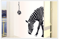Graphic vinyl PVC Animal New 2014 Large zebra wall stickers Finished Size 100*95cm removable vinyl wall sticker home decoration wall art tv panel fashion
