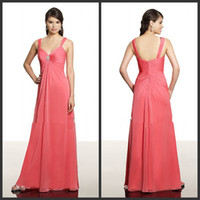 Reference Images Beads Sleeveless 2014 Wholesale Watermelon Long Bridesmaid Dresses Chiffon Spaghetti Straps Zipper Ruched Beaded Maid Of Honor Dresses Val Stefani VS9331