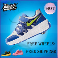 Wholesale 2014 summer ultra light children heelys single wheel flying shoes one wheel breathable shoes with invisible button for kids XC1077