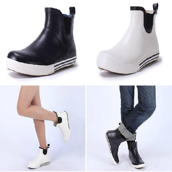 New Women Men Fashion Rubber Rain Boots Flat Heels Lovers Ankle ...