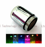 Wholesale 7 Colors Changing LED Water Taps Sense Faucet Light Glow Shower Stream Taps LED Faucets Light