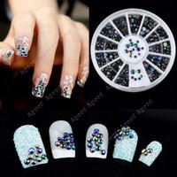 Wholesale 300Pcs D Nail Art tips Black Rhinestone Nail Art Decoration Wheel