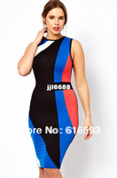 Casual Dresses V_Neck Sheath Free Shipping LC6214P Sexy Women Plus Size Color Block Geometric Pattern Sleeveless Club Bandage Cheap Hot Midi Bodycon Dress
